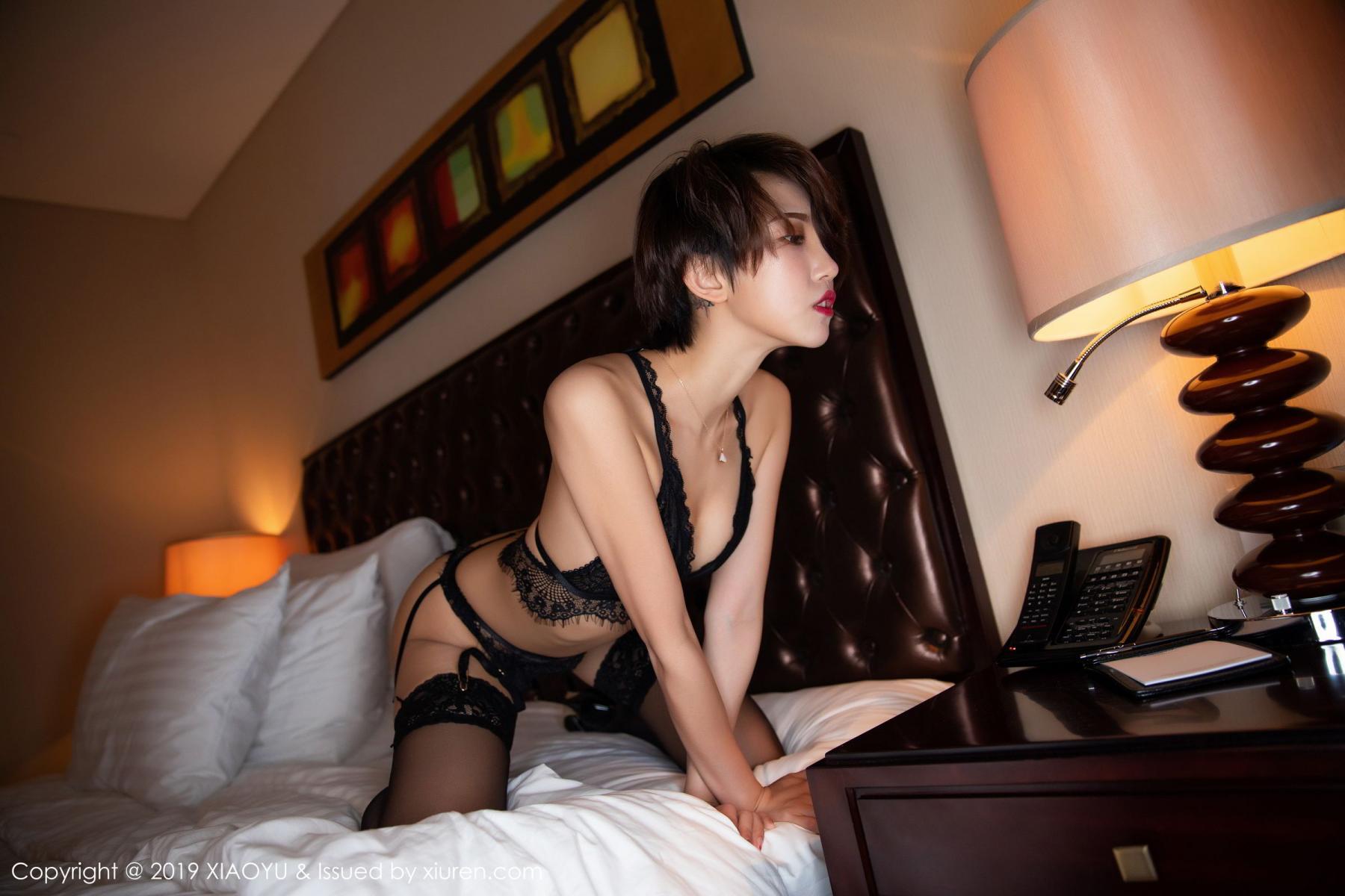 [XiaoYu] Vol.146 Feng Mu Mu 44P, Black Silk, Feng Mu Mu, Tall, Underwear, XiaoYu