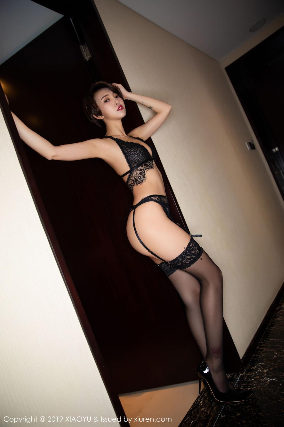 [XiaoYu] Vol.146 Feng Mu Mu 45P, Black Silk, Feng Mu Mu, Tall, Underwear, XiaoYu