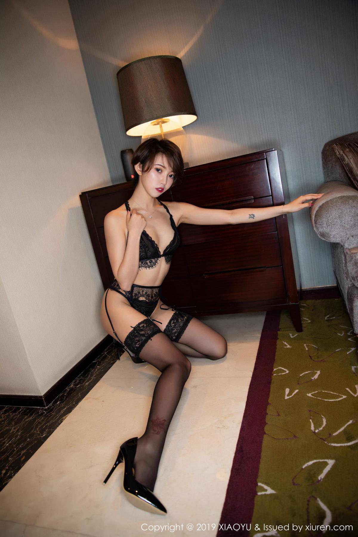 [XiaoYu] Vol.146 Feng Mu Mu 60P, Black Silk, Feng Mu Mu, Tall, Underwear, XiaoYu
