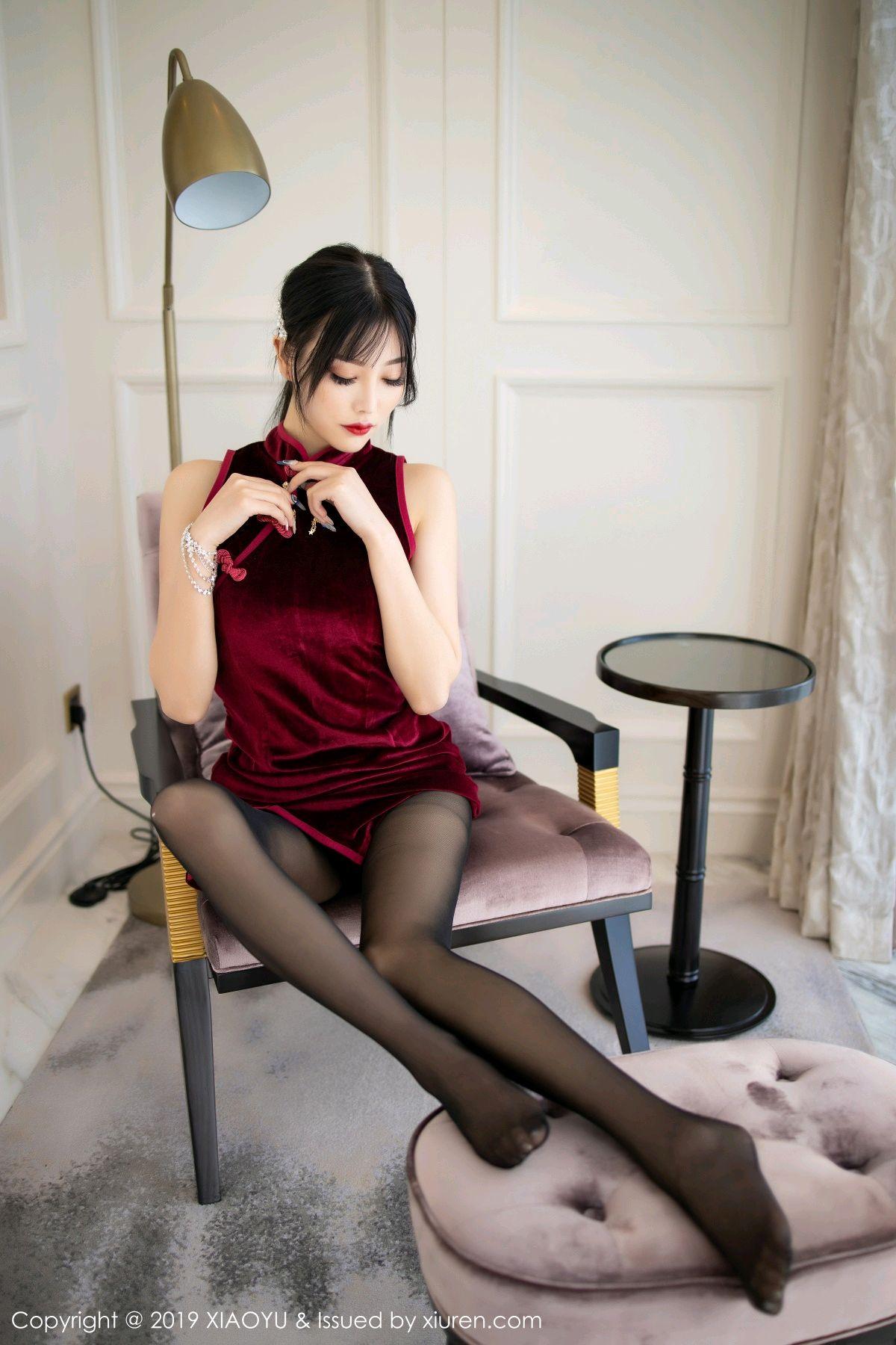 [XiaoYu] Vol.152 Yang Chen Chen 19P, Black Silk, Cheongsam, Tall, XiaoYu, Yang Chen Chen