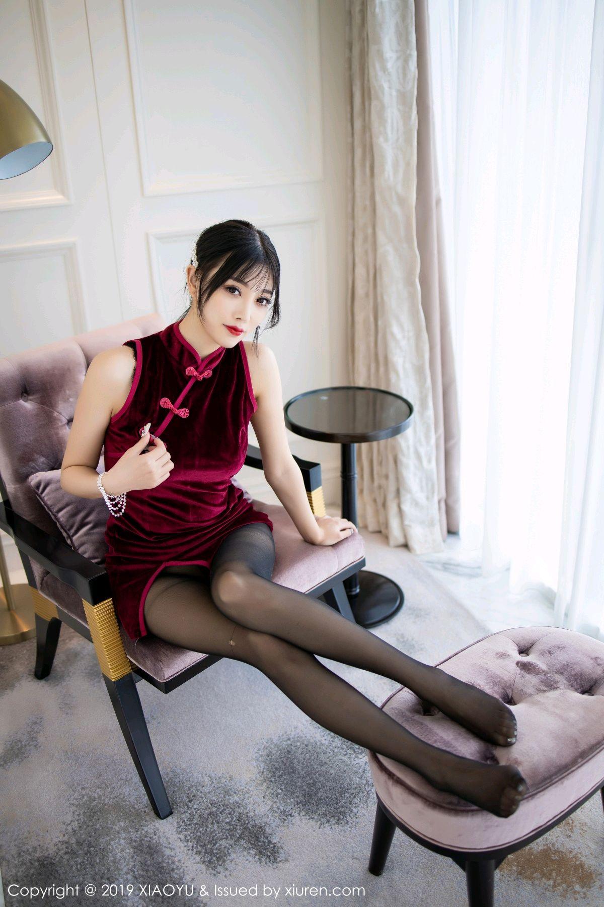 [XiaoYu] Vol.152 Yang Chen Chen 21P, Black Silk, Cheongsam, Tall, XiaoYu, Yang Chen Chen