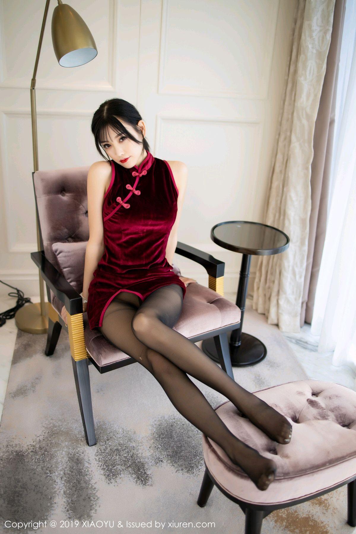 [XiaoYu] Vol.152 Yang Chen Chen 22P, Black Silk, Cheongsam, Tall, XiaoYu, Yang Chen Chen