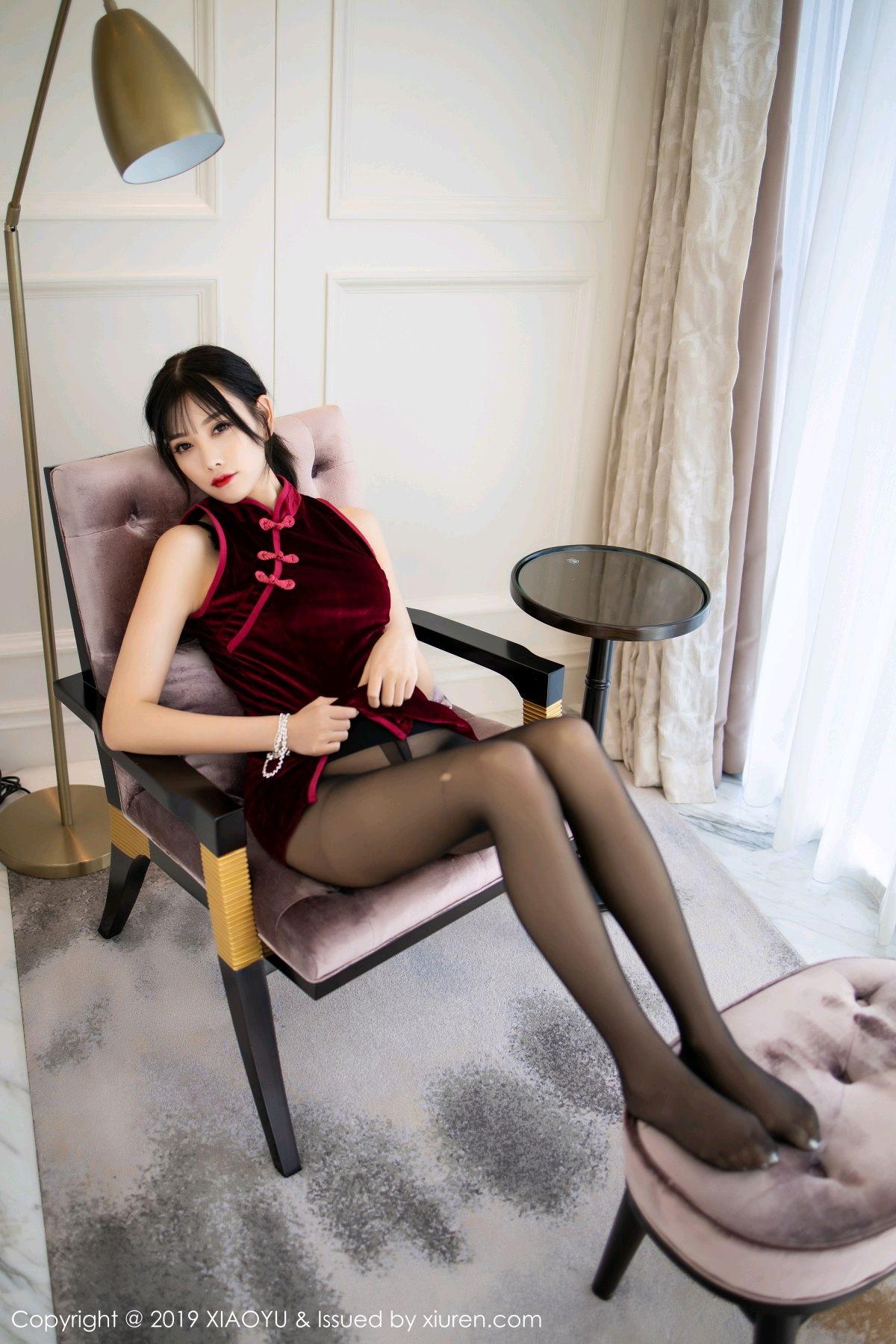[XiaoYu] Vol.152 Yang Chen Chen 23P, Black Silk, Cheongsam, Tall, XiaoYu, Yang Chen Chen