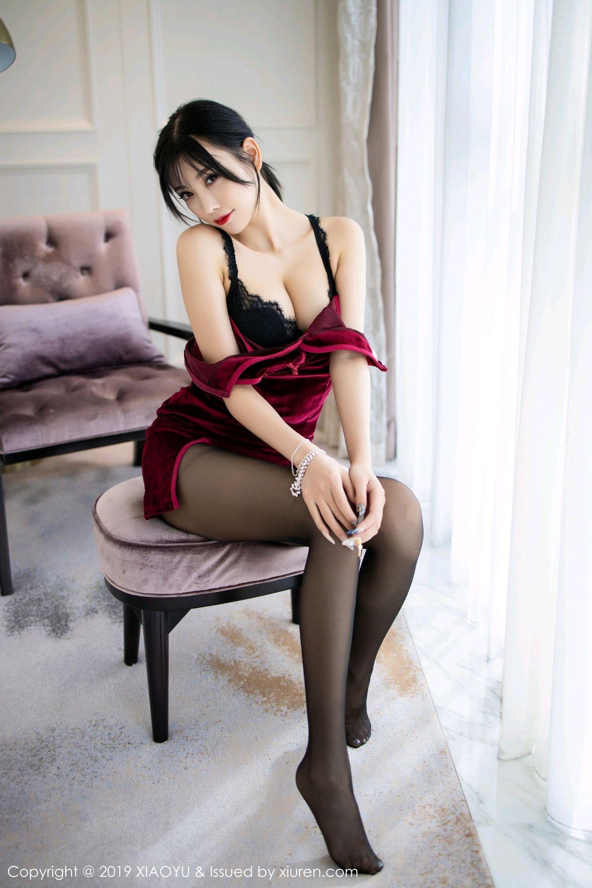 [XiaoYu] Vol.152 Yang Chen Chen 27P, Black Silk, Cheongsam, Tall, XiaoYu, Yang Chen Chen