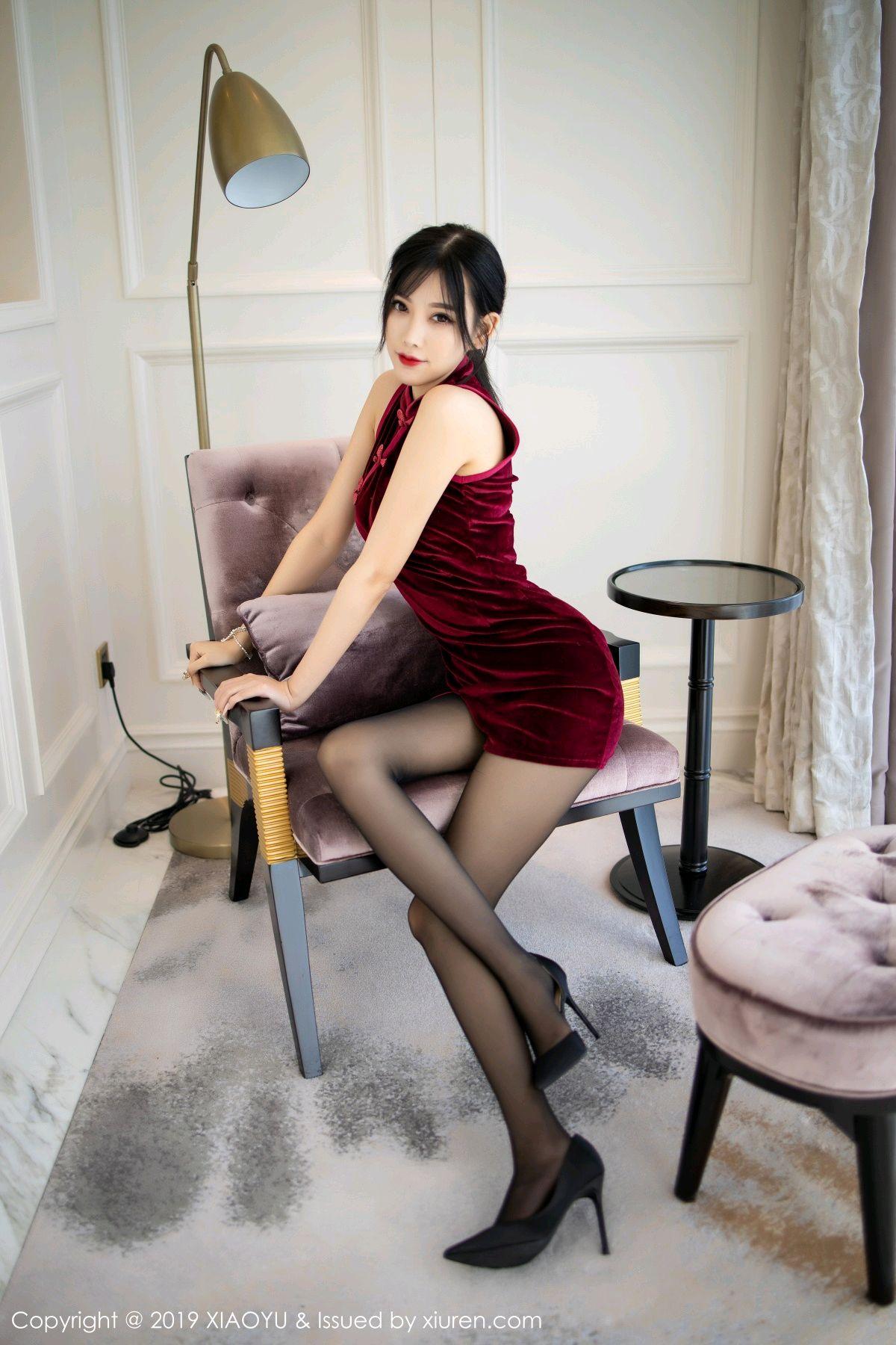 [XiaoYu] Vol.152 Yang Chen Chen 2P, Black Silk, Cheongsam, Tall, XiaoYu, Yang Chen Chen