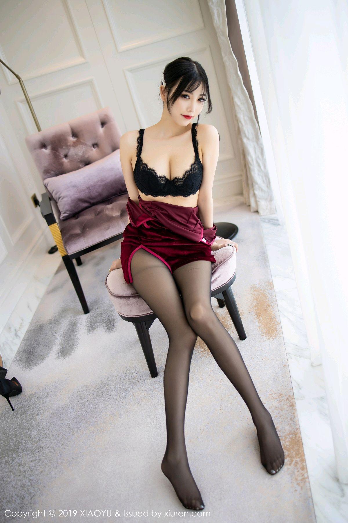 [XiaoYu] Vol.152 Yang Chen Chen 30P, Black Silk, Cheongsam, Tall, XiaoYu, Yang Chen Chen