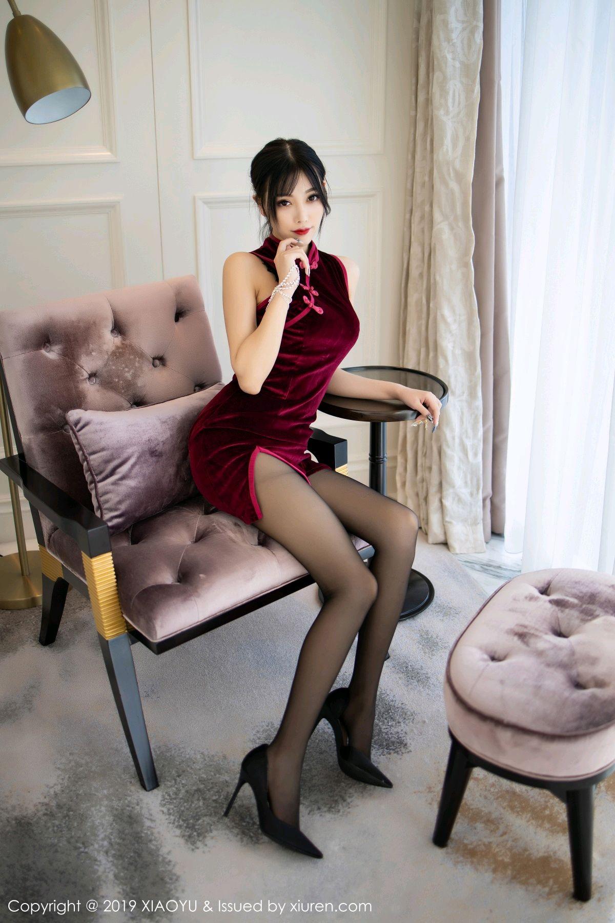 [XiaoYu] Vol.152 Yang Chen Chen 3P, Black Silk, Cheongsam, Tall, XiaoYu, Yang Chen Chen