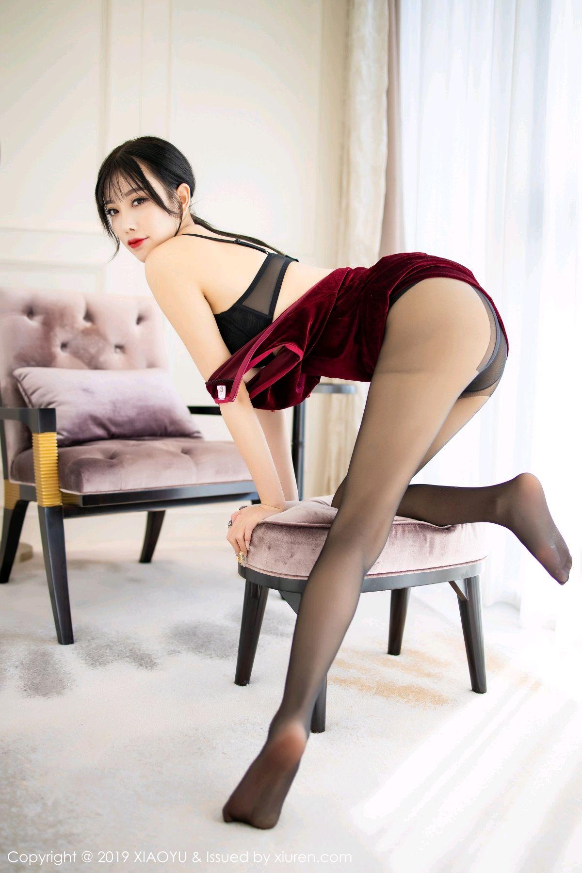 [XiaoYu] Vol.152 Yang Chen Chen 40P, Black Silk, Cheongsam, Tall, XiaoYu, Yang Chen Chen
