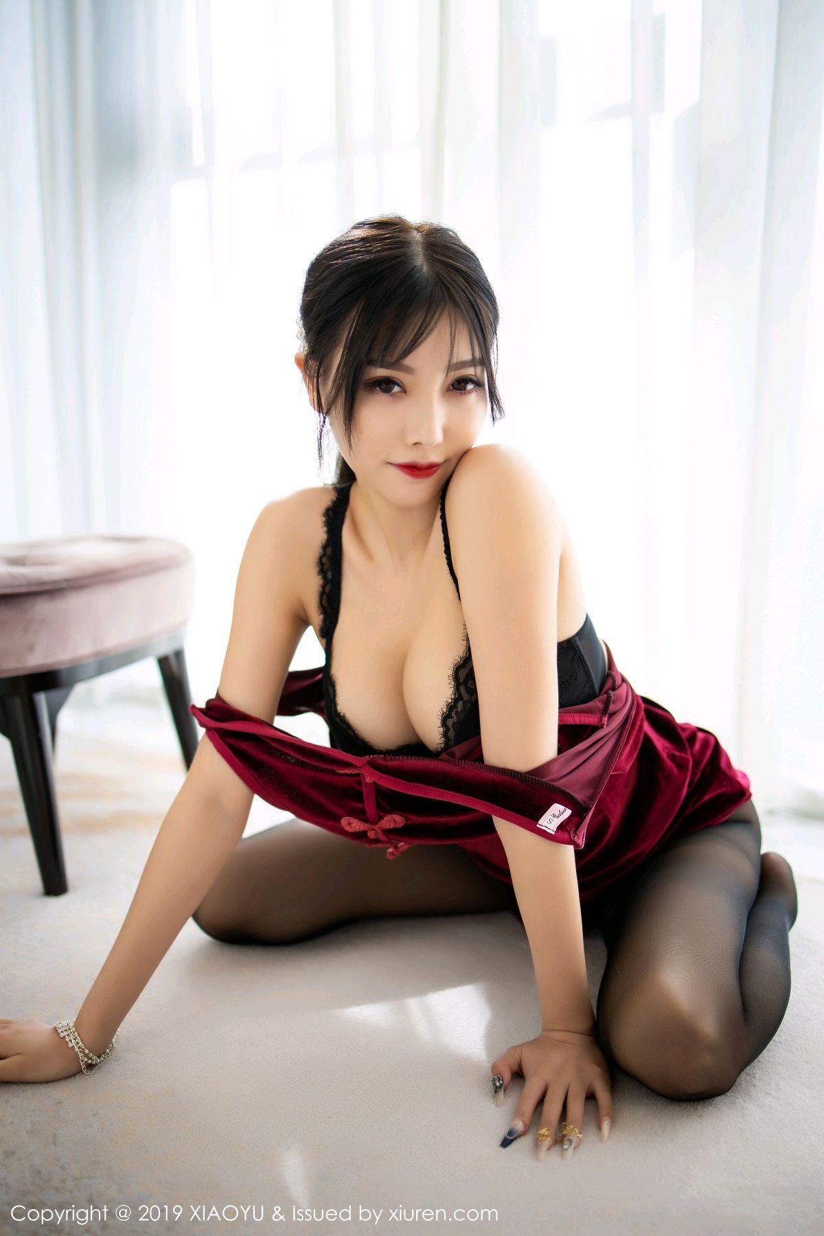 [XiaoYu] Vol.152 Yang Chen Chen 52P, Black Silk, Cheongsam, Tall, XiaoYu, Yang Chen Chen