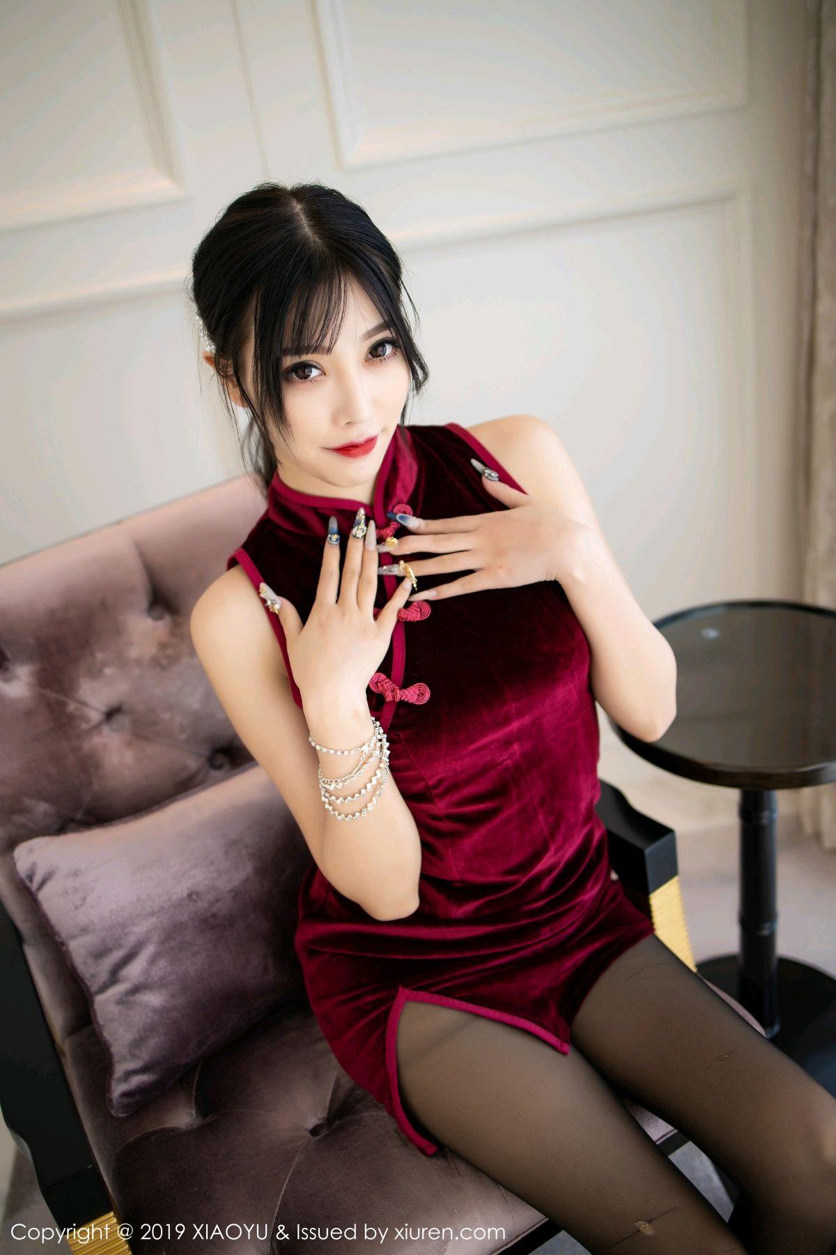 [XiaoYu] Vol.152 Yang Chen Chen 5P, Black Silk, Cheongsam, Tall, XiaoYu, Yang Chen Chen