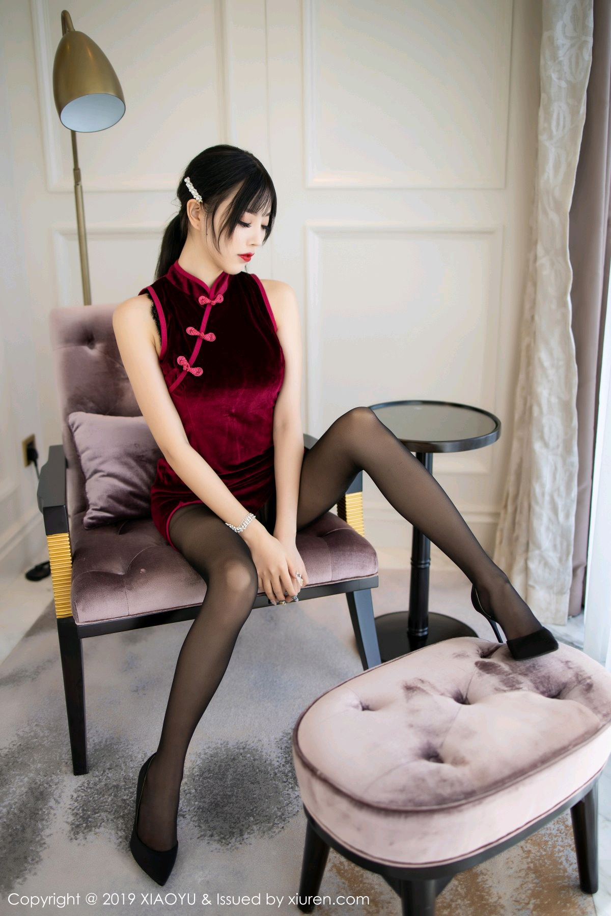 [XiaoYu] Vol.152 Yang Chen Chen 6P, Black Silk, Cheongsam, Tall, XiaoYu, Yang Chen Chen