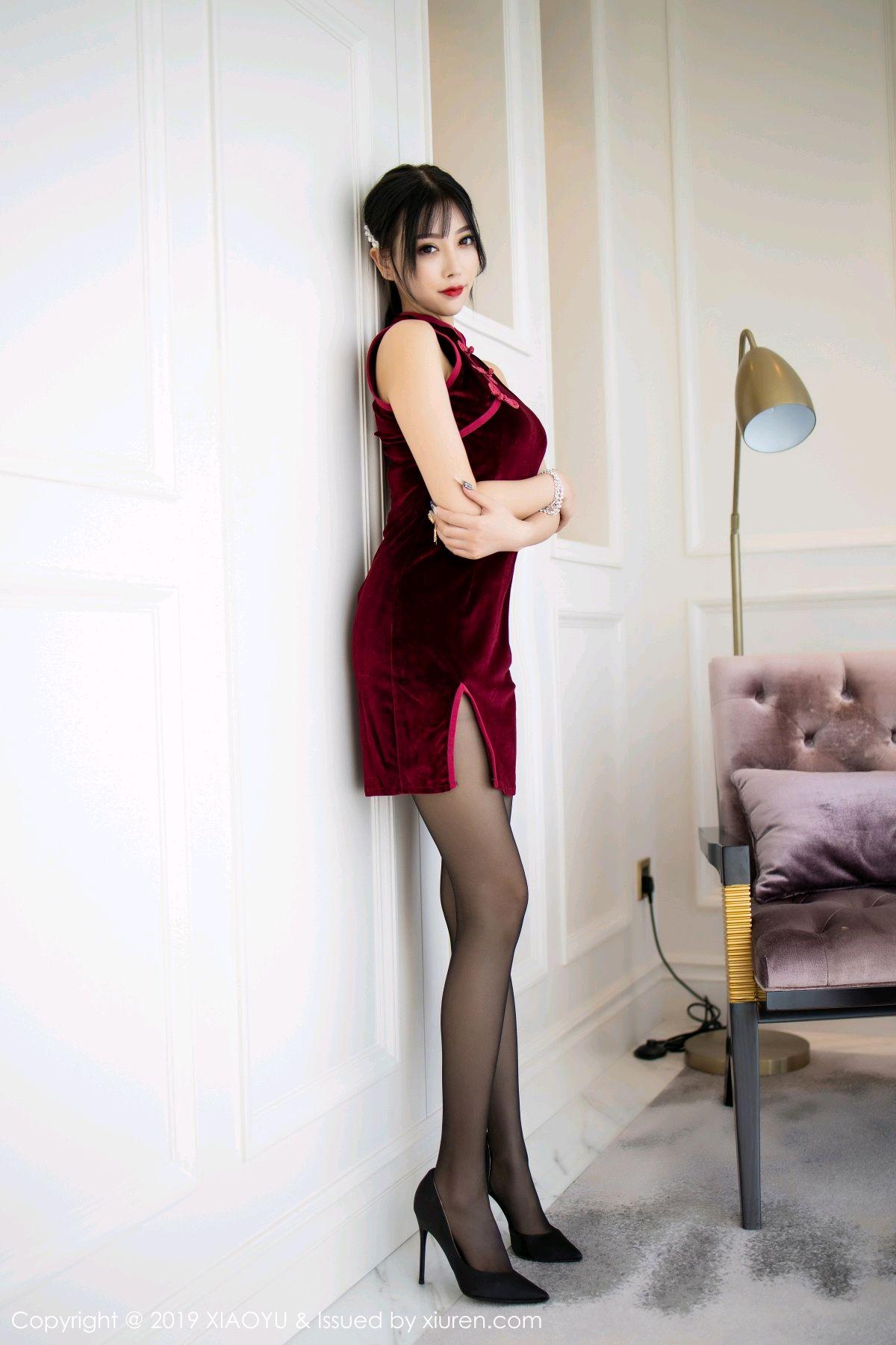 [XiaoYu] Vol.152 Yang Chen Chen 8P, Black Silk, Cheongsam, Tall, XiaoYu, Yang Chen Chen