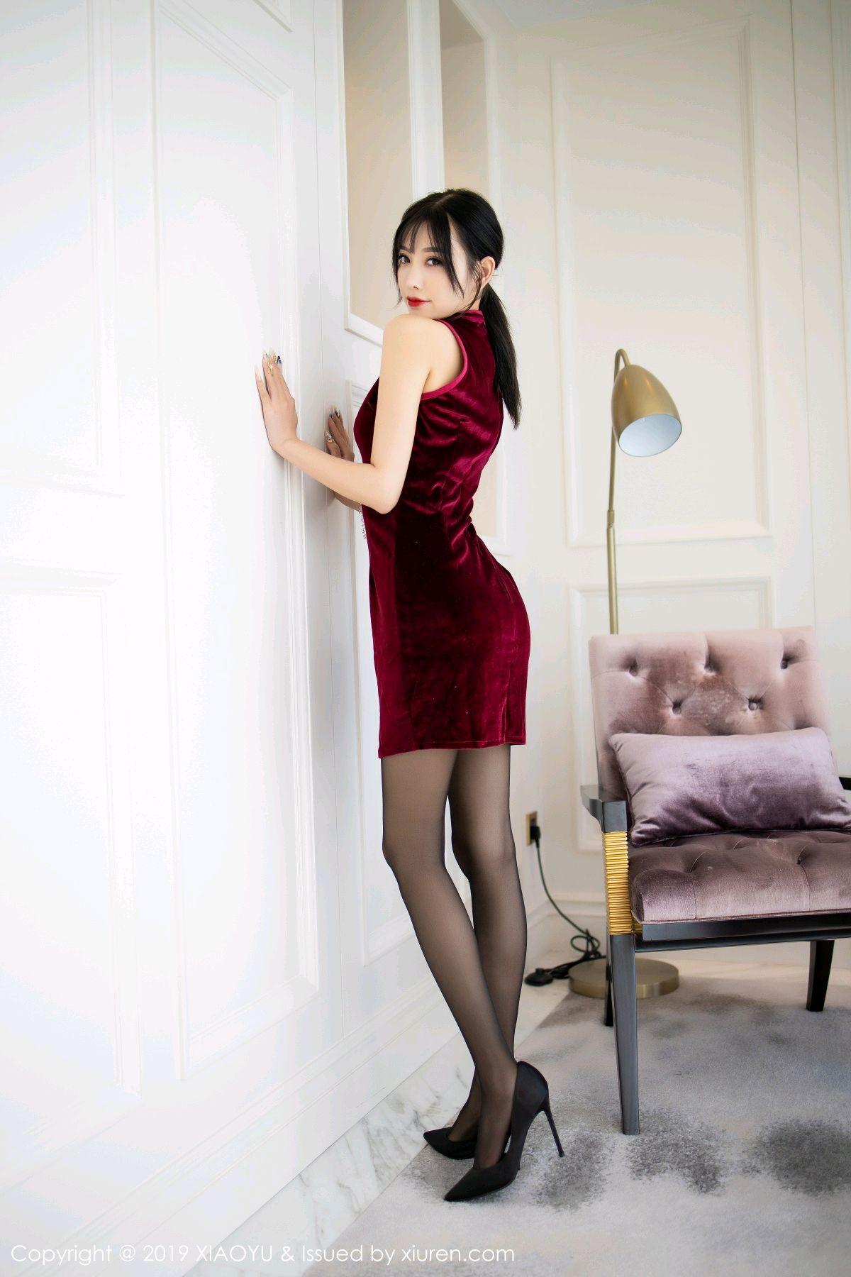[XiaoYu] Vol.152 Yang Chen Chen 9P, Black Silk, Cheongsam, Tall, XiaoYu, Yang Chen Chen