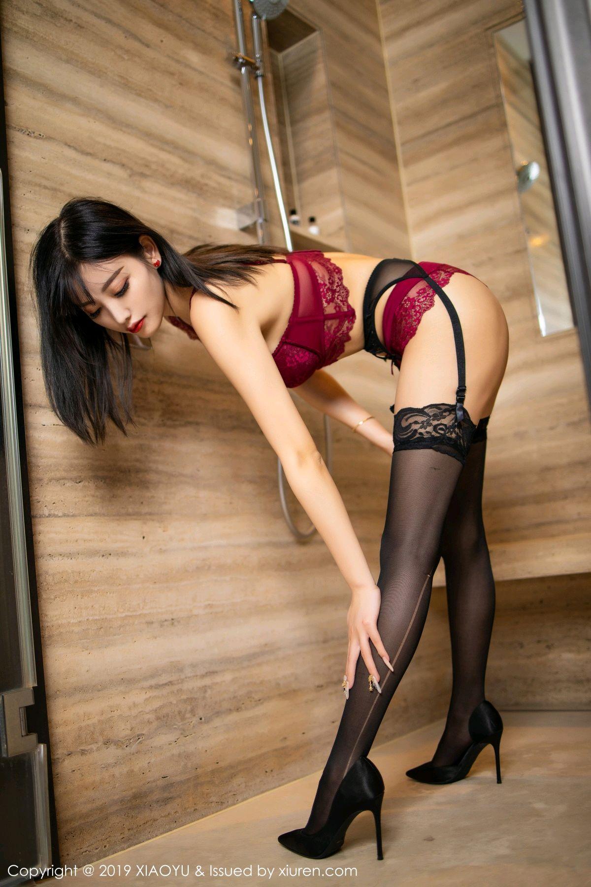 [XiaoYu] Vol.153 Yang Chen Chen 53P, Bathroom, Black Silk, Underwear, XiaoYu, Yang Chen Chen