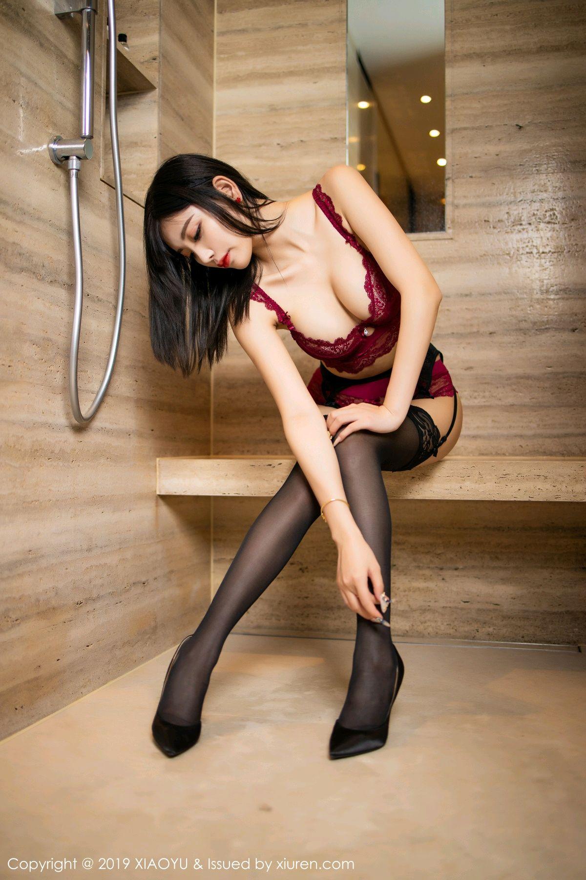[XiaoYu] Vol.153 Yang Chen Chen 58P, Bathroom, Black Silk, Underwear, XiaoYu, Yang Chen Chen