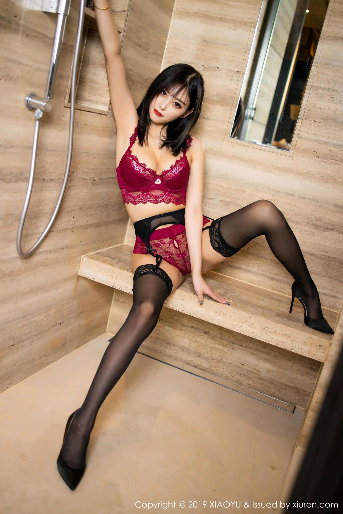 [XiaoYu] Vol.153 Yang Chen Chen 61P, Bathroom, Black Silk, Underwear, XiaoYu, Yang Chen Chen