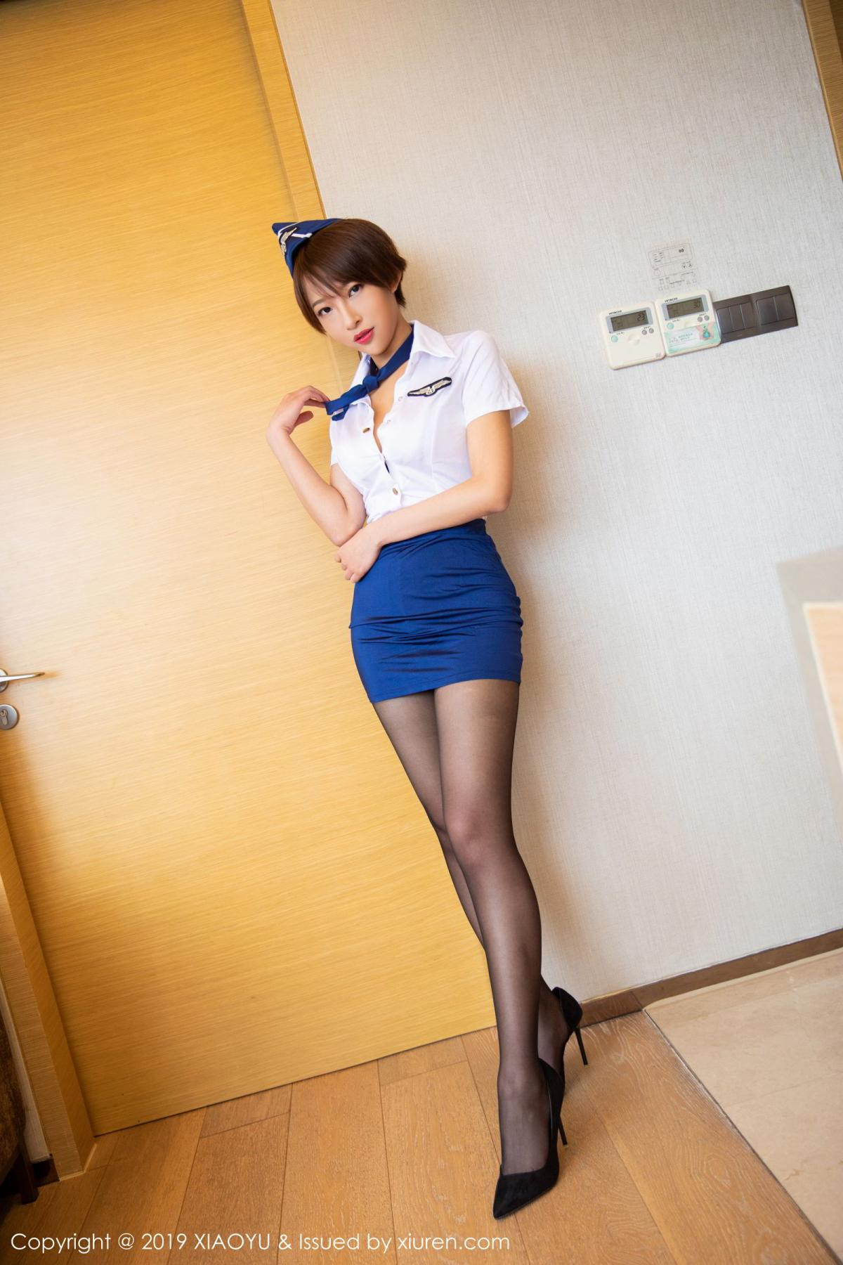 [XiaoYu] Vol.160 Li Zi Riz 1P, Black Silk, Li Zi Riz, Stewardess, Uniform, XiaoYu