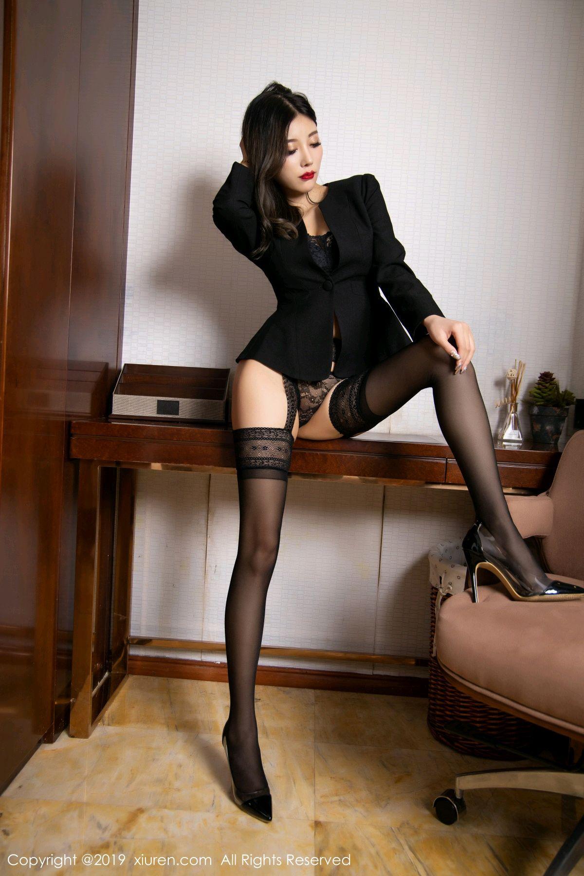 [XiaoYu] Vol.1633 Yang Chen Chen 14P, Black Silk, Tall, Uniform, XiaoYu, Yang Chen Chen