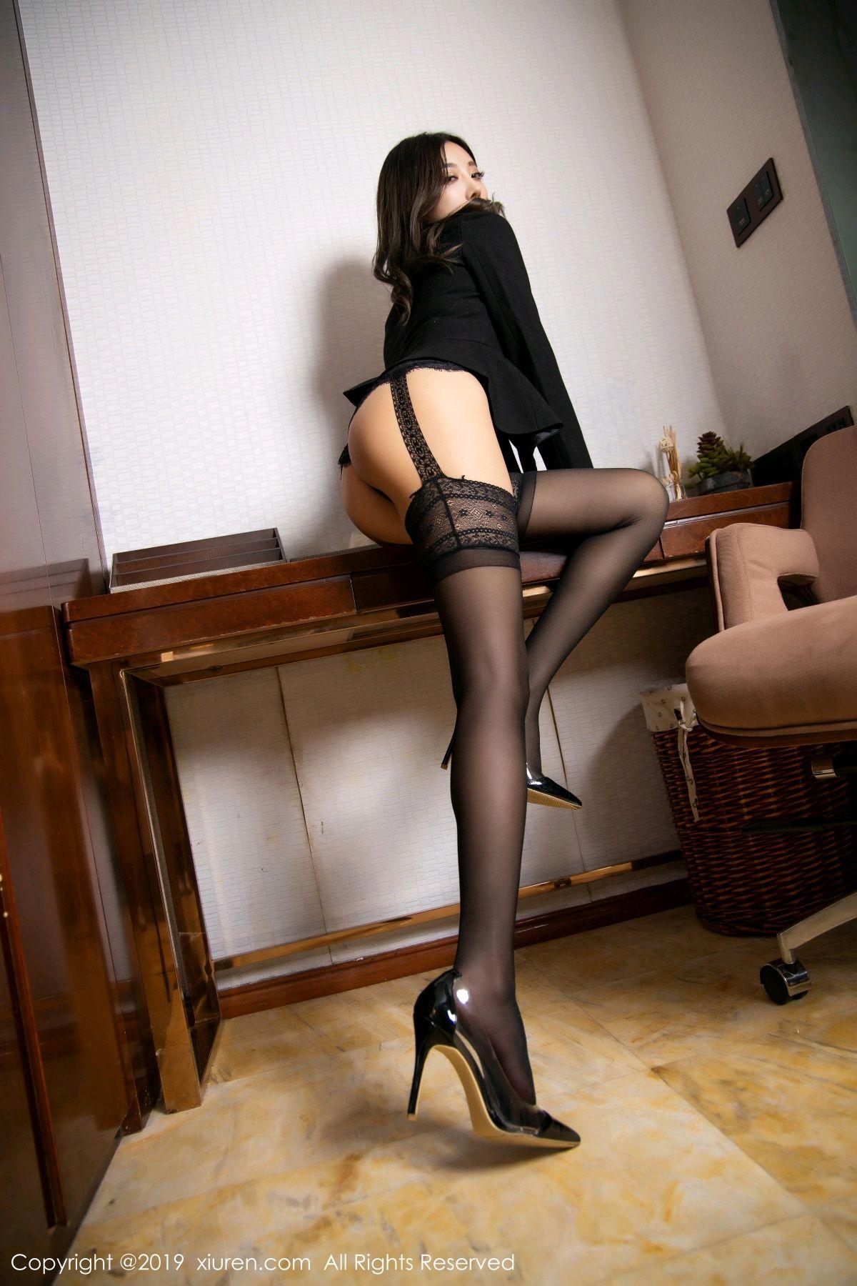 [XiaoYu] Vol.1633 Yang Chen Chen 17P, Black Silk, Tall, Uniform, XiaoYu, Yang Chen Chen
