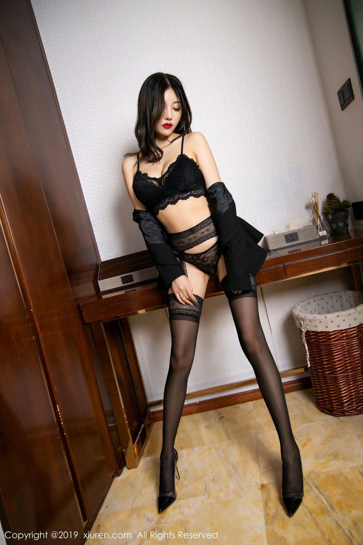 [XiaoYu] Vol.1633 Yang Chen Chen 3P, Black Silk, Tall, Uniform, XiaoYu, Yang Chen Chen