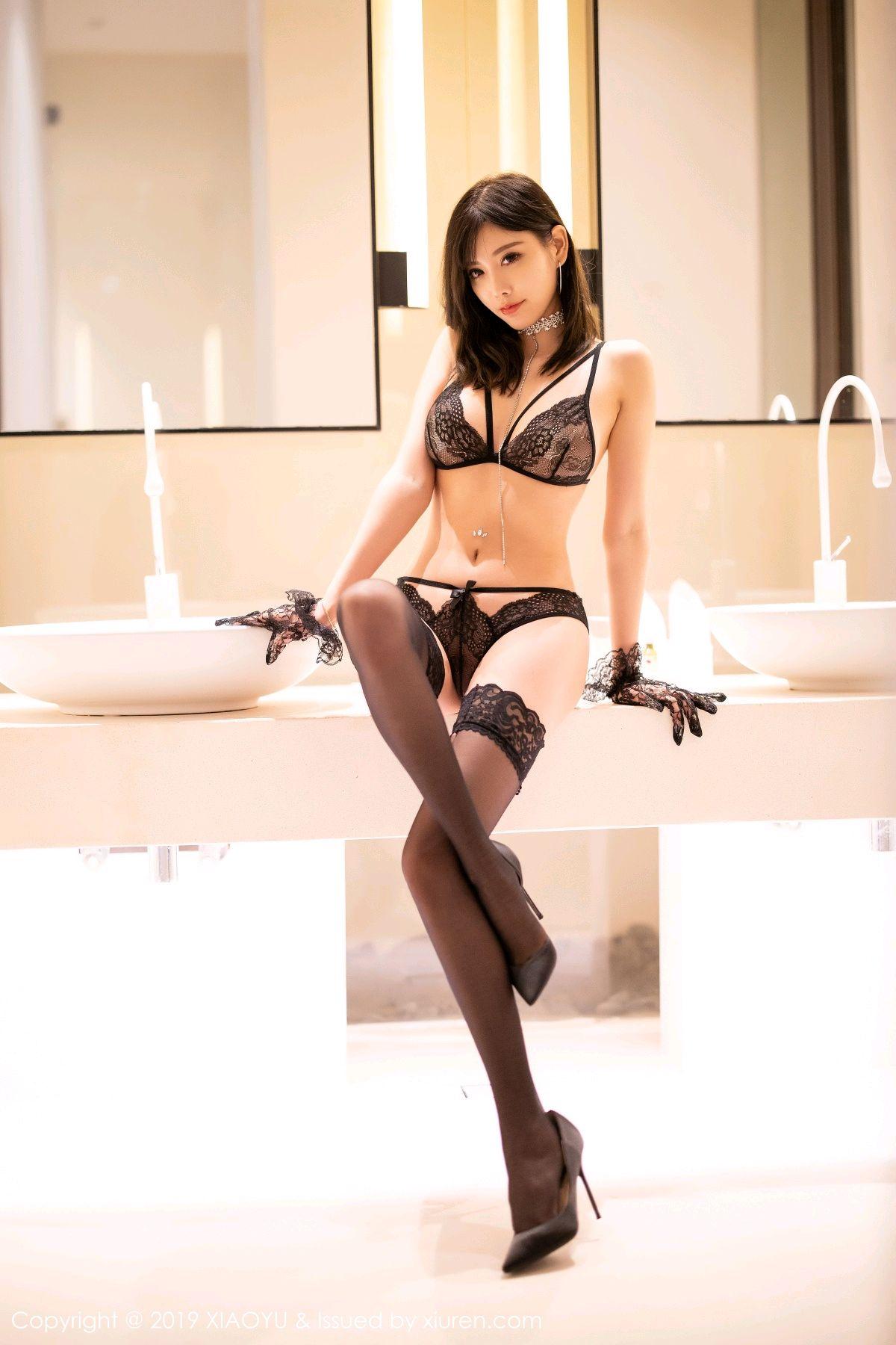 [XiaoYu] Vol.189 Yang Chen Chen 31P, Black Silk, Underwear, XiaoYu, Yang Chen Chen