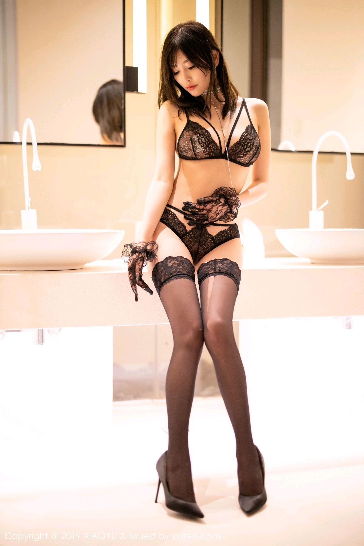 [XiaoYu] Vol.189 Yang Chen Chen 61P, Black Silk, Underwear, XiaoYu, Yang Chen Chen