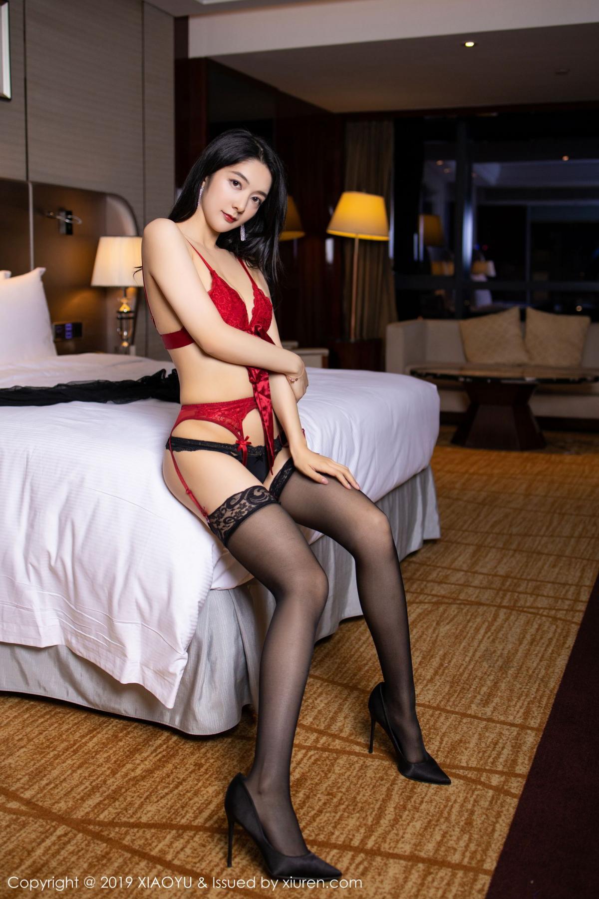 [XiaoYu] Vol.198 Di Yi 6P, Black Silk, Di Yi, Underwear, XiaoYu
