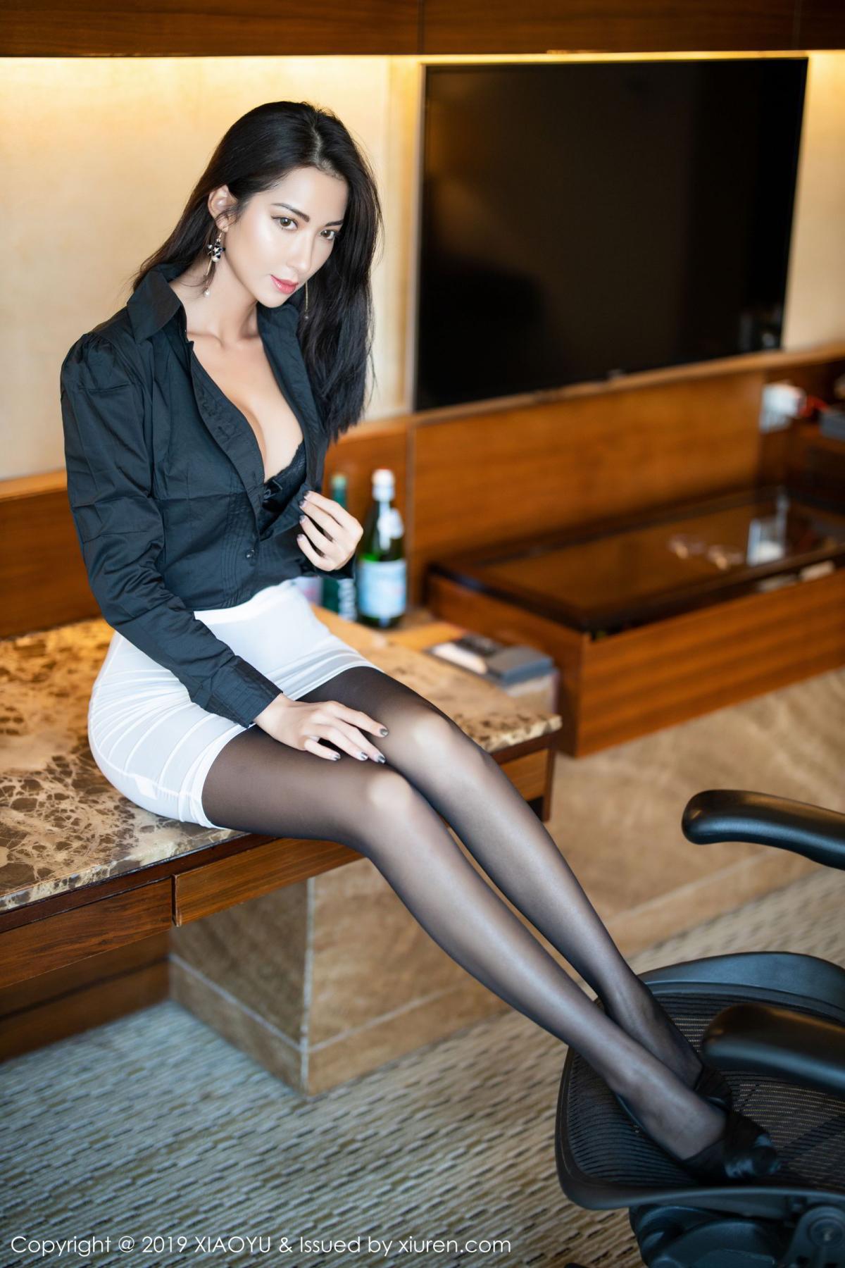 [XiaoYu] Vol.202 Chen Liang Ling 16P, Black Silk, Chen Liang Ling, Tall, Temperament, Underwear, XiaoYu