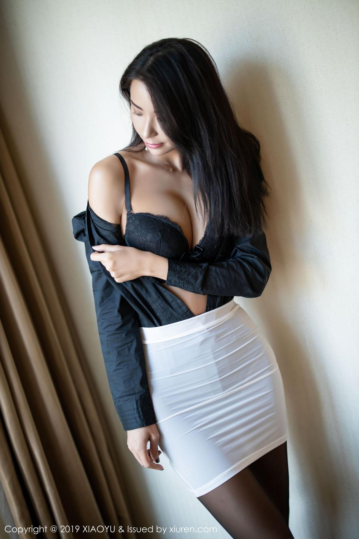 [XiaoYu] Vol.202 Chen Liang Ling 24P, Black Silk, Chen Liang Ling, Tall, Temperament, Underwear, XiaoYu