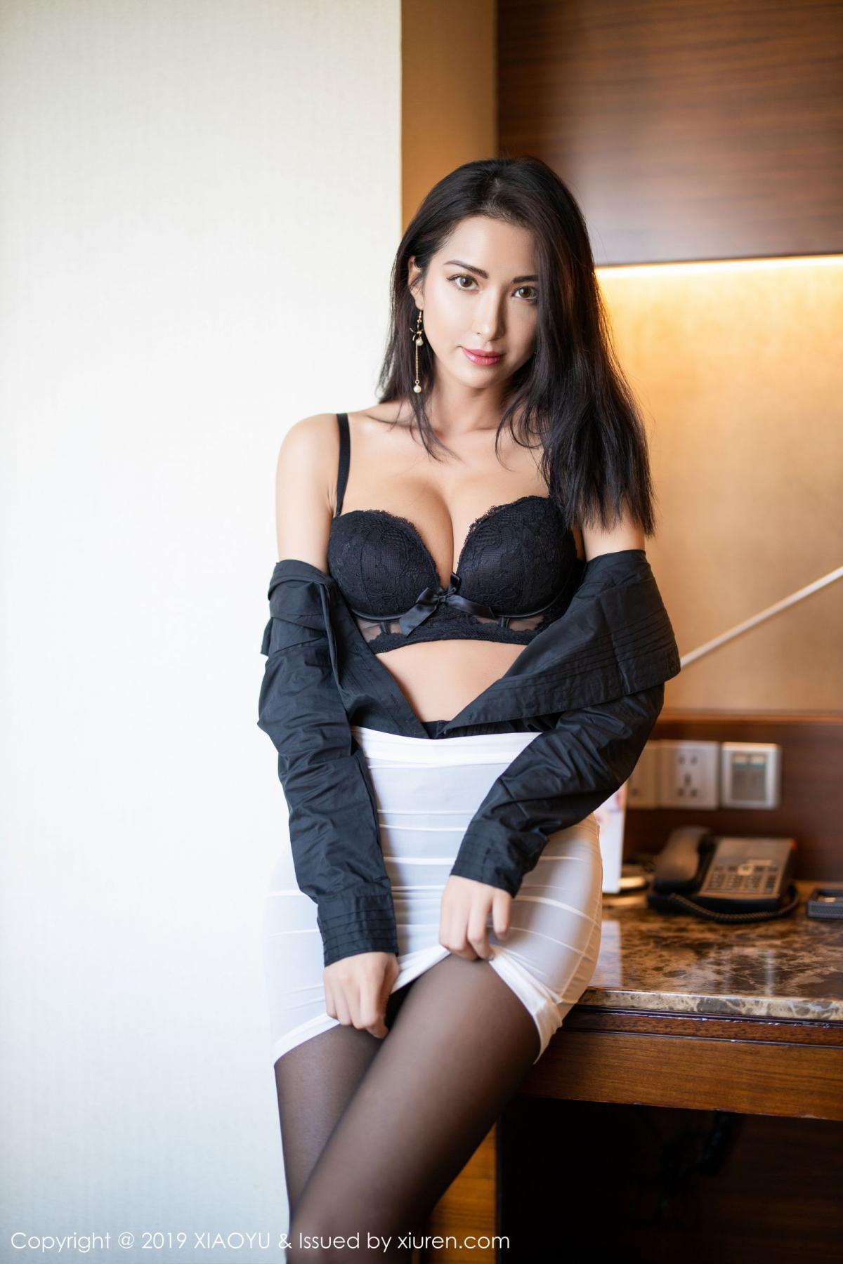 [XiaoYu] Vol.202 Chen Liang Ling 32P, Black Silk, Chen Liang Ling, Tall, Temperament, Underwear, XiaoYu