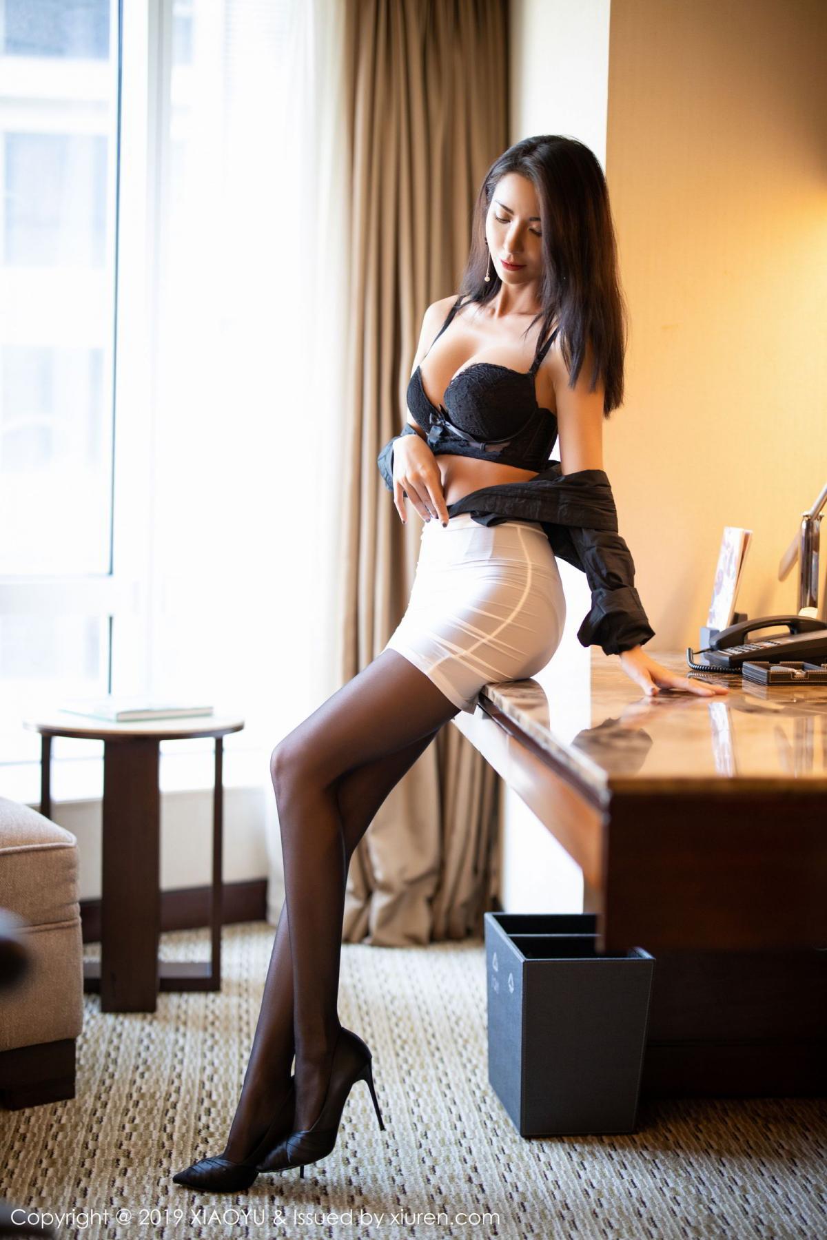 [XiaoYu] Vol.202 Chen Liang Ling 36P, Black Silk, Chen Liang Ling, Tall, Temperament, Underwear, XiaoYu