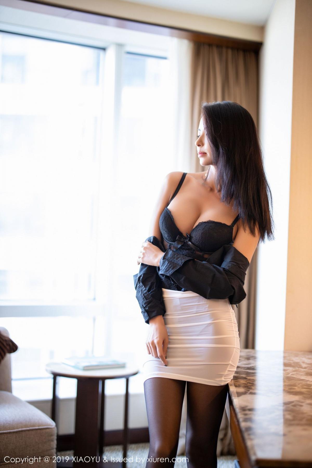 [XiaoYu] Vol.202 Chen Liang Ling 38P, Black Silk, Chen Liang Ling, Tall, Temperament, Underwear, XiaoYu
