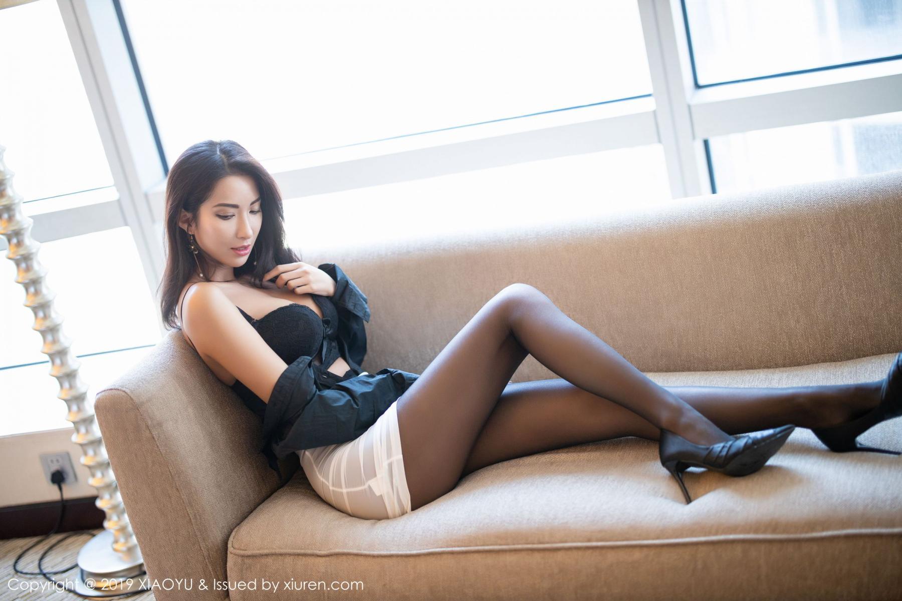 [XiaoYu] Vol.202 Chen Liang Ling 46P, Black Silk, Chen Liang Ling, Tall, Temperament, Underwear, XiaoYu