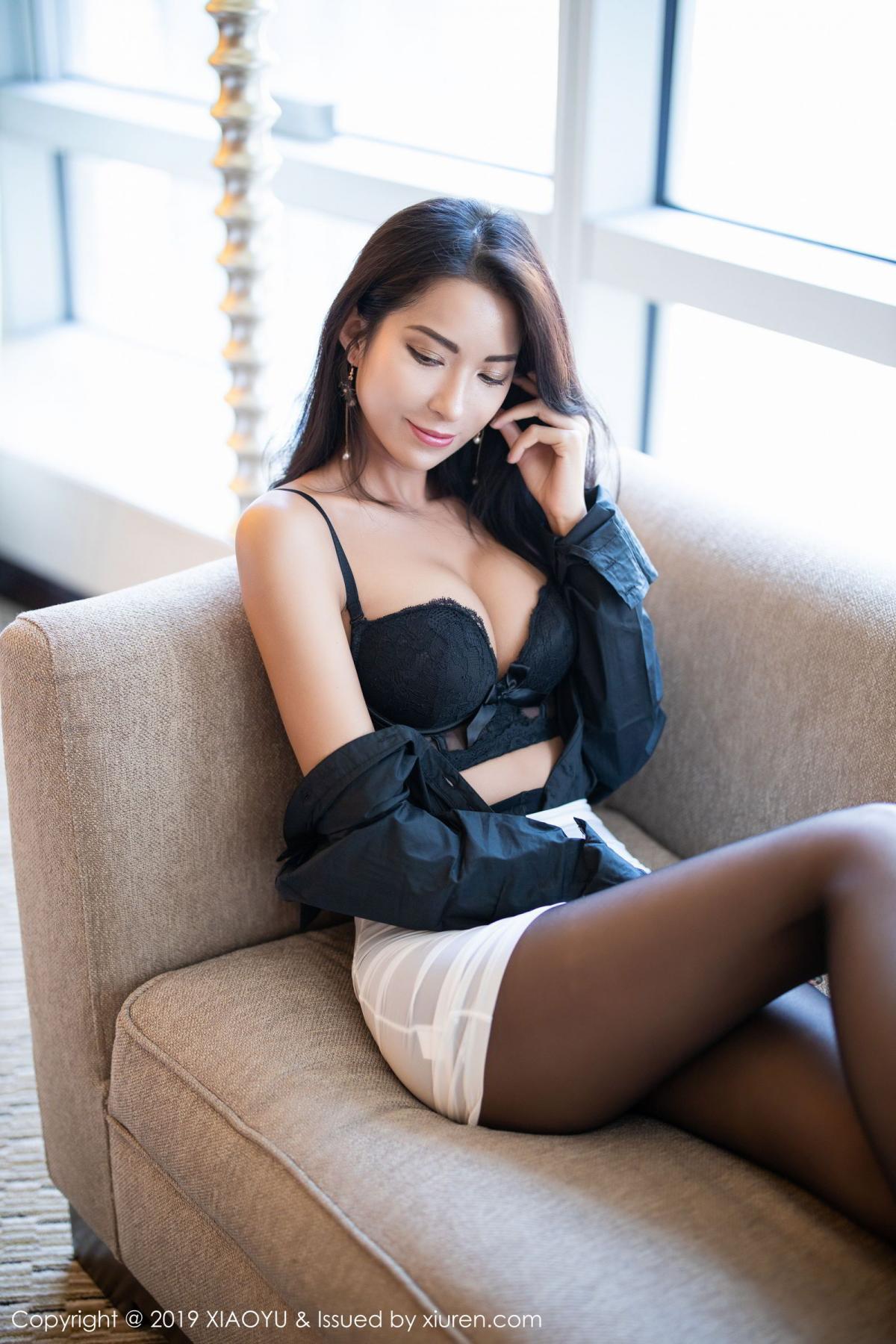 [XiaoYu] Vol.202 Chen Liang Ling 47P, Black Silk, Chen Liang Ling, Tall, Temperament, Underwear, XiaoYu