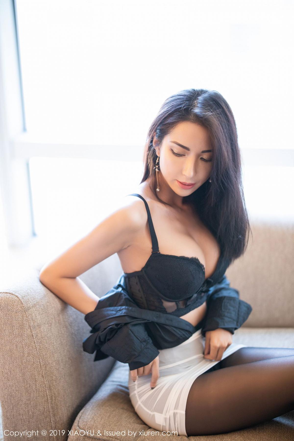 [XiaoYu] Vol.202 Chen Liang Ling 49P, Black Silk, Chen Liang Ling, Tall, Temperament, Underwear, XiaoYu