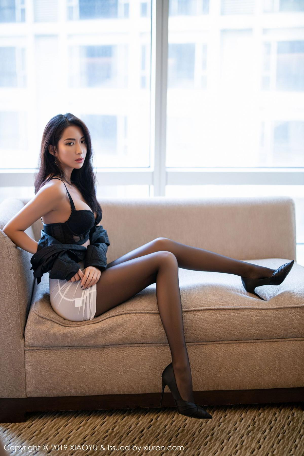 [XiaoYu] Vol.202 Chen Liang Ling 54P, Black Silk, Chen Liang Ling, Tall, Temperament, Underwear, XiaoYu