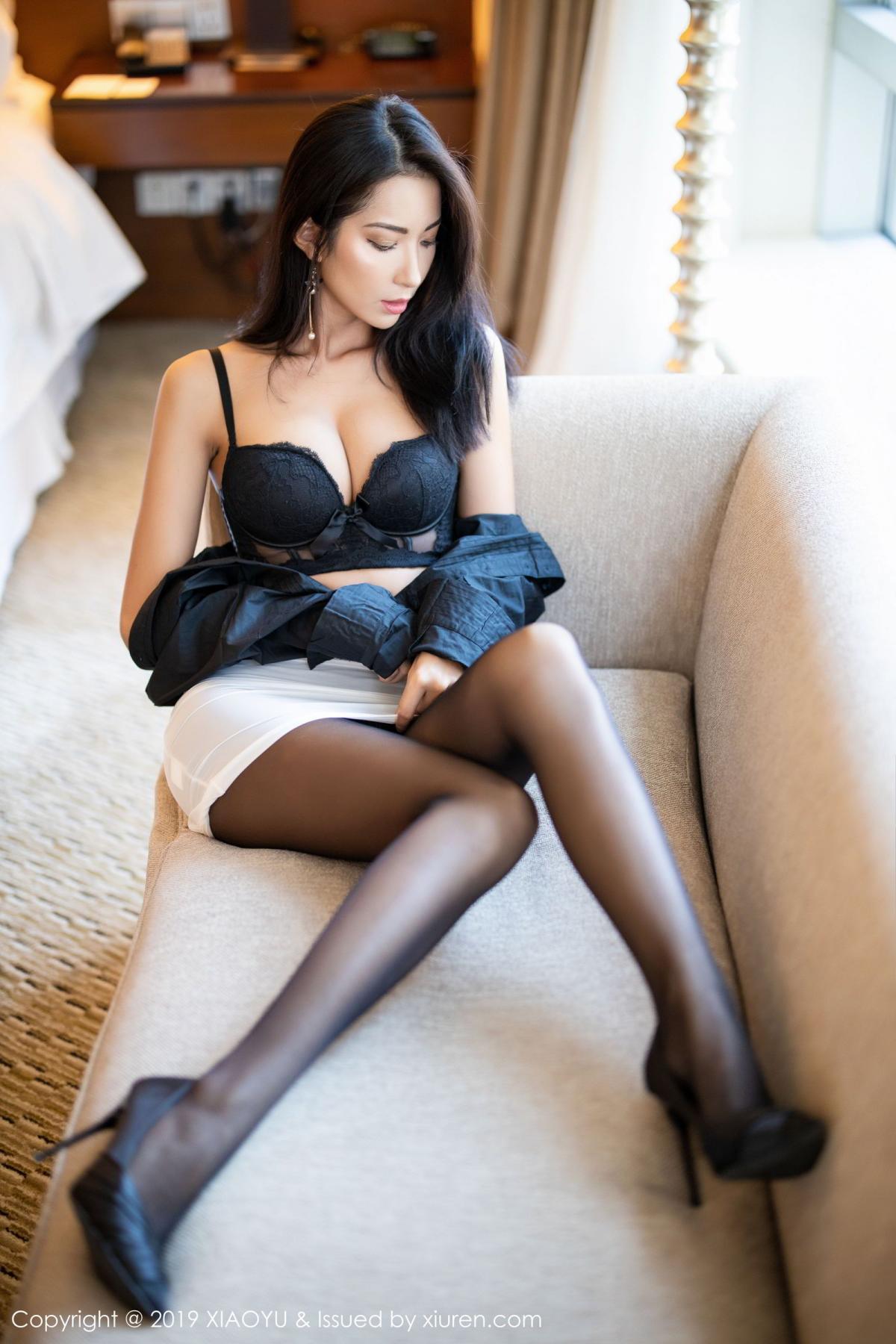 [XiaoYu] Vol.202 Chen Liang Ling 55P, Black Silk, Chen Liang Ling, Tall, Temperament, Underwear, XiaoYu