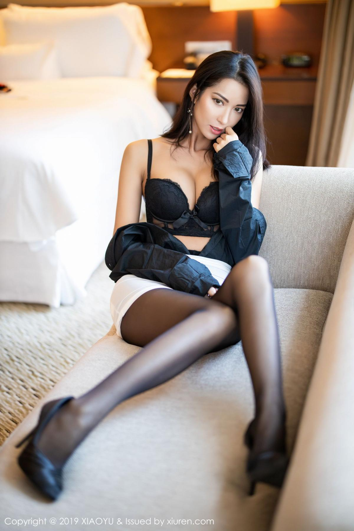 [XiaoYu] Vol.202 Chen Liang Ling 56P, Black Silk, Chen Liang Ling, Tall, Temperament, Underwear, XiaoYu
