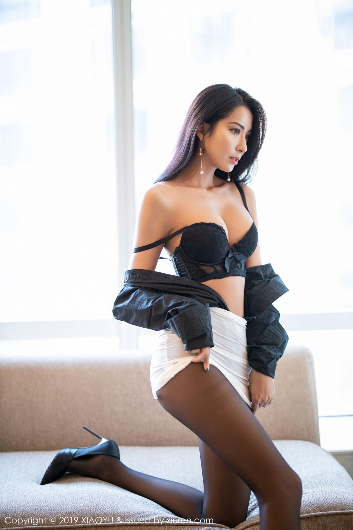 [XiaoYu] Vol.202 Chen Liang Ling 66P, Black Silk, Chen Liang Ling, Tall, Temperament, Underwear, XiaoYu