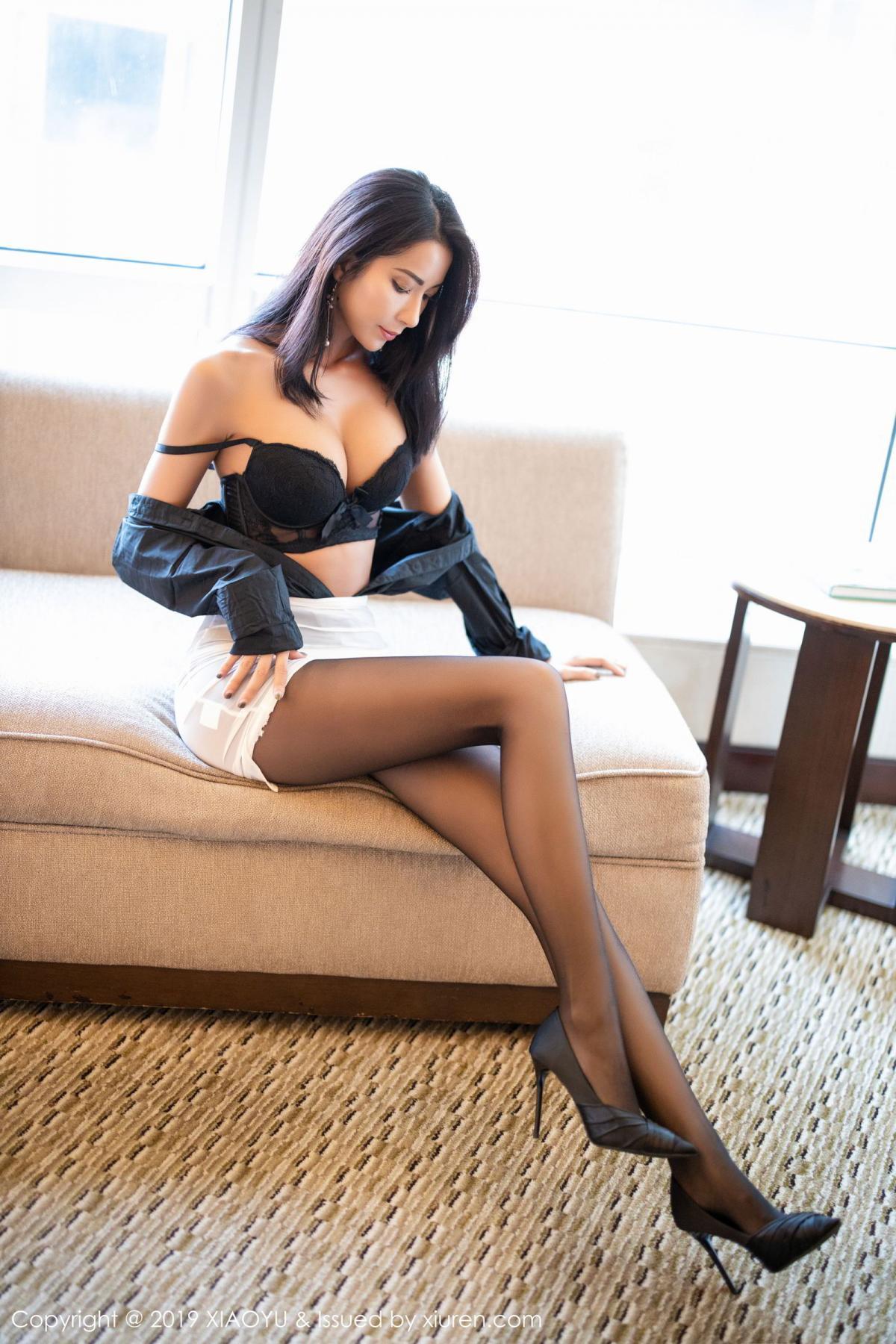 [XiaoYu] Vol.202 Chen Liang Ling 75P, Black Silk, Chen Liang Ling, Tall, Temperament, Underwear, XiaoYu