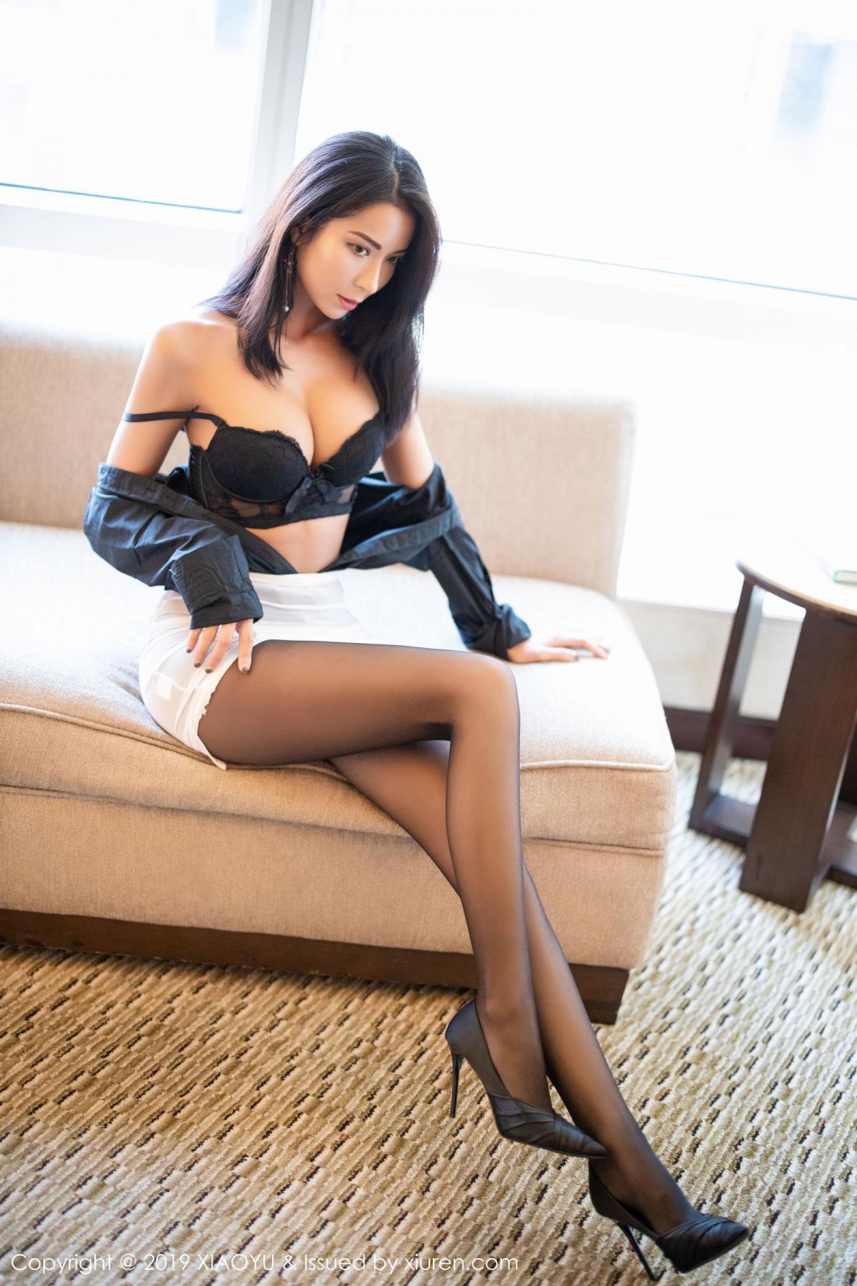 [XiaoYu] Vol.202 Chen Liang Ling 76P, Black Silk, Chen Liang Ling, Tall, Temperament, Underwear, XiaoYu