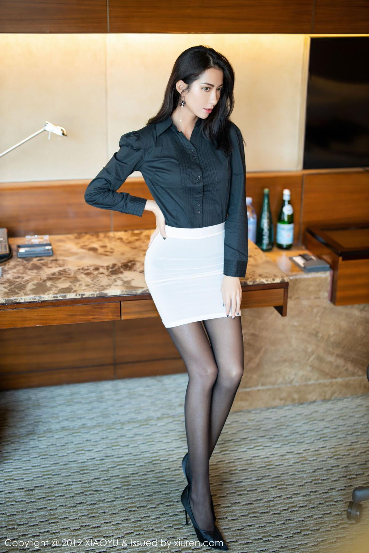 [XiaoYu] Vol.202 Chen Liang Ling 9P, Black Silk, Chen Liang Ling, Tall, Temperament, Underwear, XiaoYu