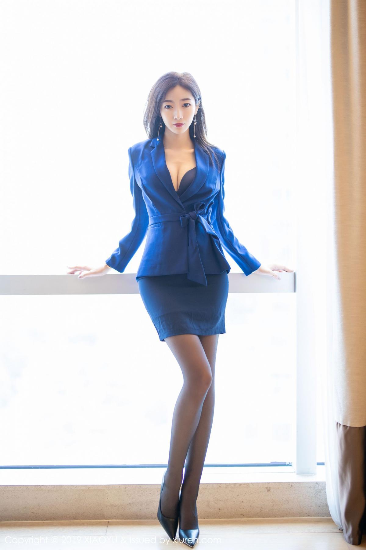 [XiaoYu] Vol.203 An Qi Yee 6P, An Qi Yee, Black Silk, Tall, Uniform, XiaoYu