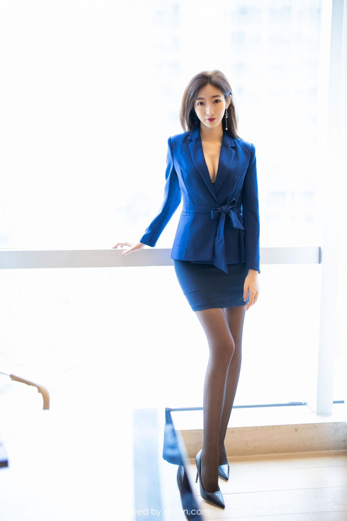 [XiaoYu] Vol.203 An Qi Yee 9P, An Qi Yee, Black Silk, Tall, Uniform, XiaoYu