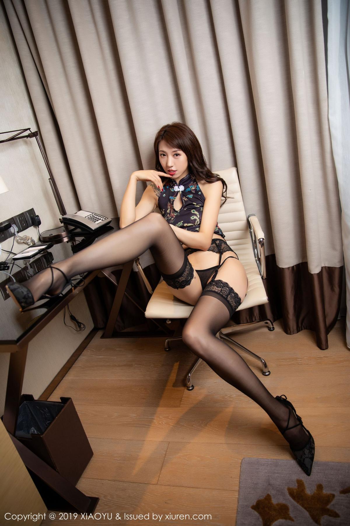 [XiaoYu] Vol.216 Da Xi 18P, Black Silk, Cheongsam, Da Xi, XiaoYu