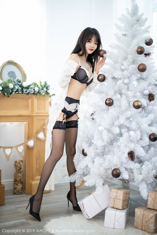 [XiaoYu] Vol.222 Miko Jiang 19P, Black Silk, Christmas, Miko Jiang, Tall, XiaoYu