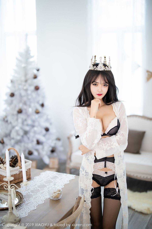 [XiaoYu] Vol.222 Miko Jiang 4P, Black Silk, Christmas, Miko Jiang, Tall, XiaoYu