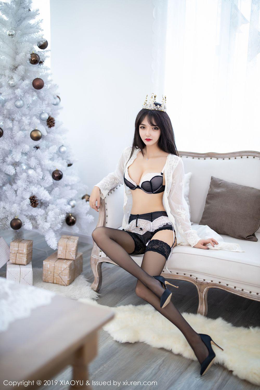 [XiaoYu] Vol.222 Miko Jiang 8P, Black Silk, Christmas, Miko Jiang, Tall, XiaoYu