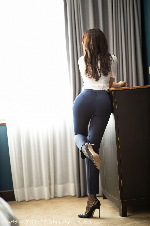 [XiaoYu] Vol.246 Zhi Zhi Booty 12P, Black Silk, Chen Zhi, Stewardess, Underwear, XiaoYu