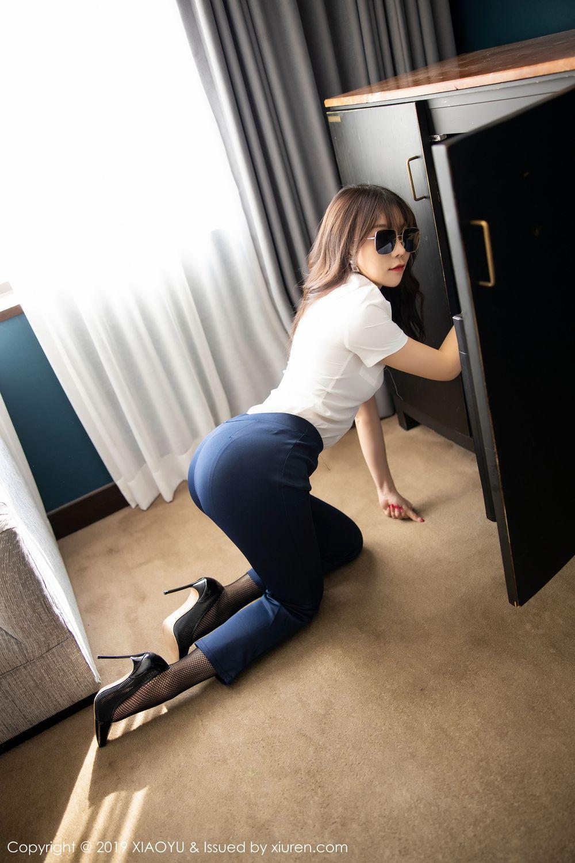 [XiaoYu] Vol.246 Zhi Zhi Booty 21P, Black Silk, Chen Zhi, Stewardess, Underwear, XiaoYu